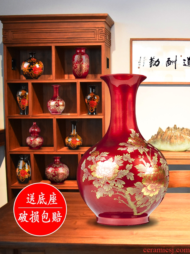 Jingdezhen ceramics red vase modern creative home dry flower arranging flowers sitting room adornment is placed a wedding gift