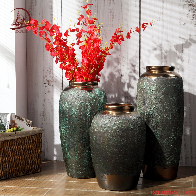 Modern European jingdezhen ceramic club hotel furnishing articles creative living room window of large vase flower POTS