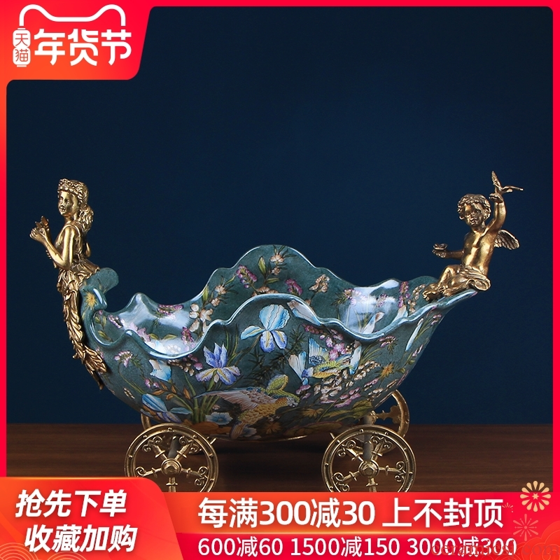 The Company shall thy neck European - style key-2 luxury ceramic fruit fruit basket with copper decorations household of rural living room furnishing articles