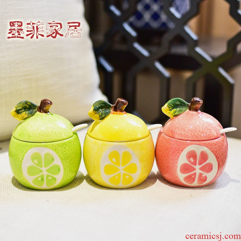 Household kitchen cartoon creative fruit flavored anaglyph ceramic pot seasoning jar with cover Household soft adornment is placed