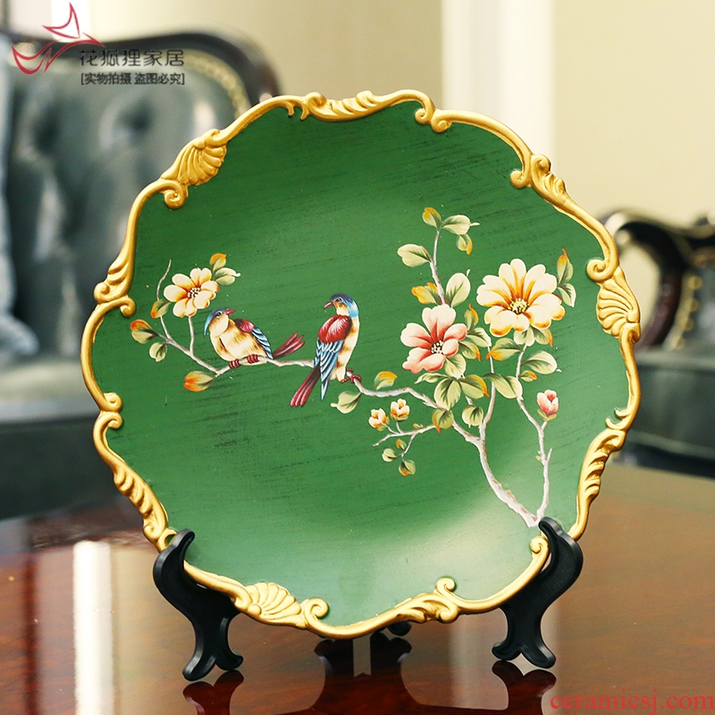 American country hand - made flower decoration plate place to live in the sitting room porch plate ceramic plate bracket tray