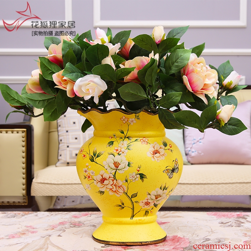 American vase furnishing articles household act the role ofing is tasted, creative New Year sitting room of Europe type restoring ancient ways simulation ceramics dried flower flower arranging flowers