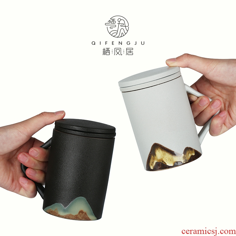 A Live chicken in the separation of tea tea cup keller large capacity filter with cover ceramic cup portable office