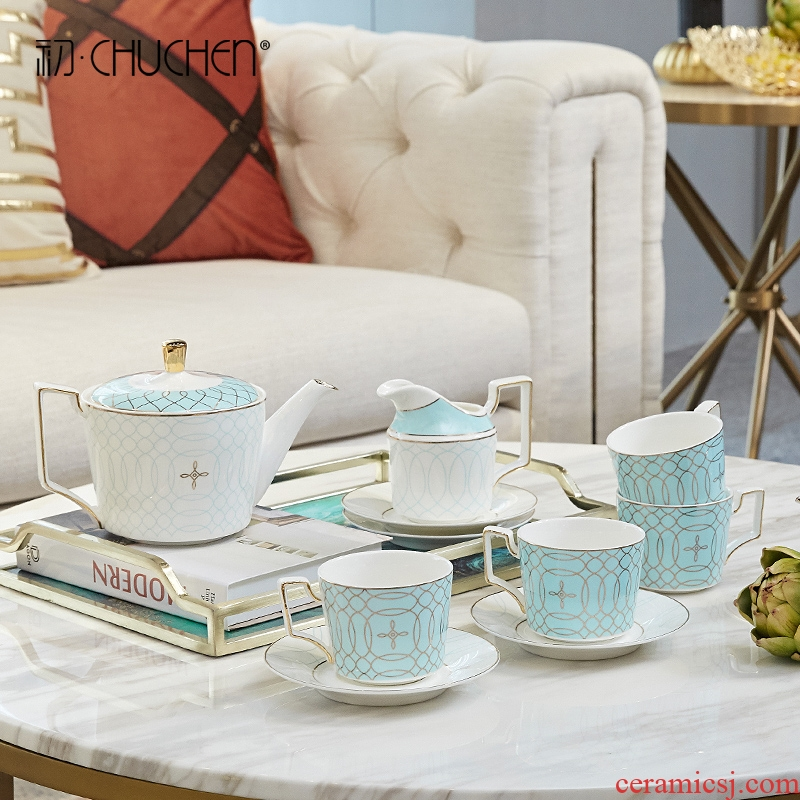 Ceramic tea set home European cup household contracted sitting room tea table model between coffee cup light luxuries