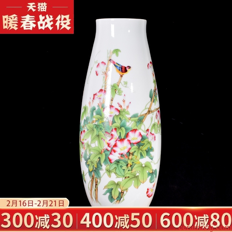 Jingdezhen ceramic vase pastel horse of new Chinese style household living room TV cabinet porch decoration furnishing articles