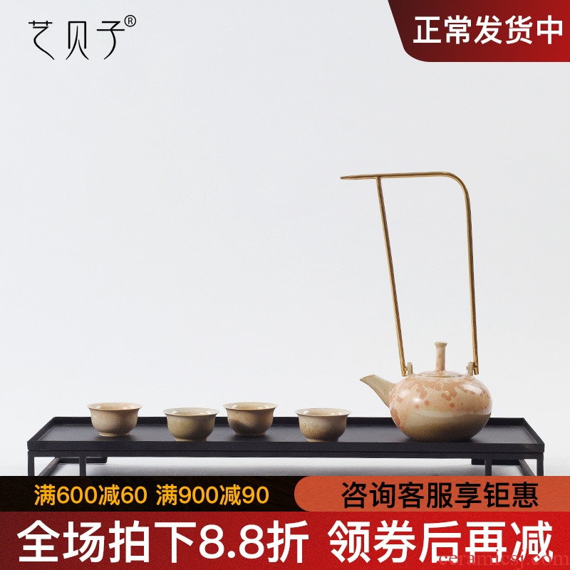 Art BeiZi new Chinese style tea house furnishing articles ceramic teapot metal hand pot of tea taking between example study ornaments