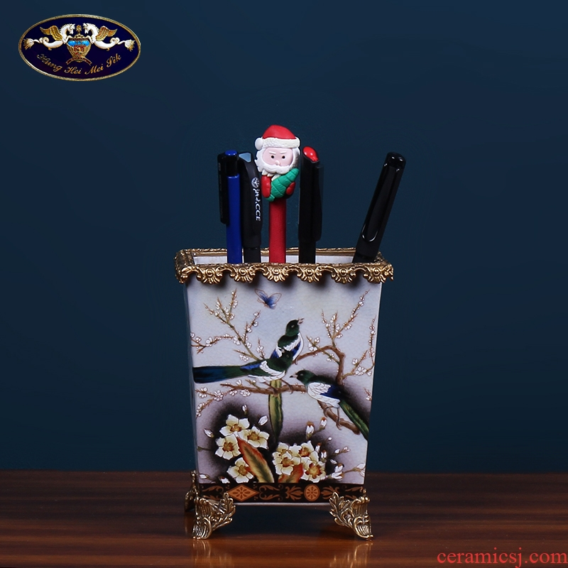 European creative ceramic brush pot sitting room decoration American household act the role ofing is tasted the study porch office handicraft furnishing articles