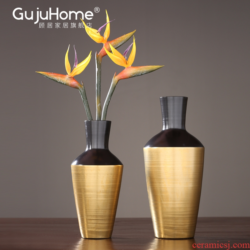 New Chinese style manual ceramic vase furnishing articles creative home flower arranging flower show porch decoration decoration