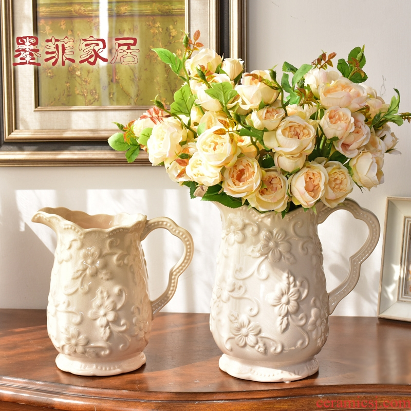 Continental ice crack glaze furnishing articles ceramic vases, flower arranging living room TV cabinet table wine home decoration decoration