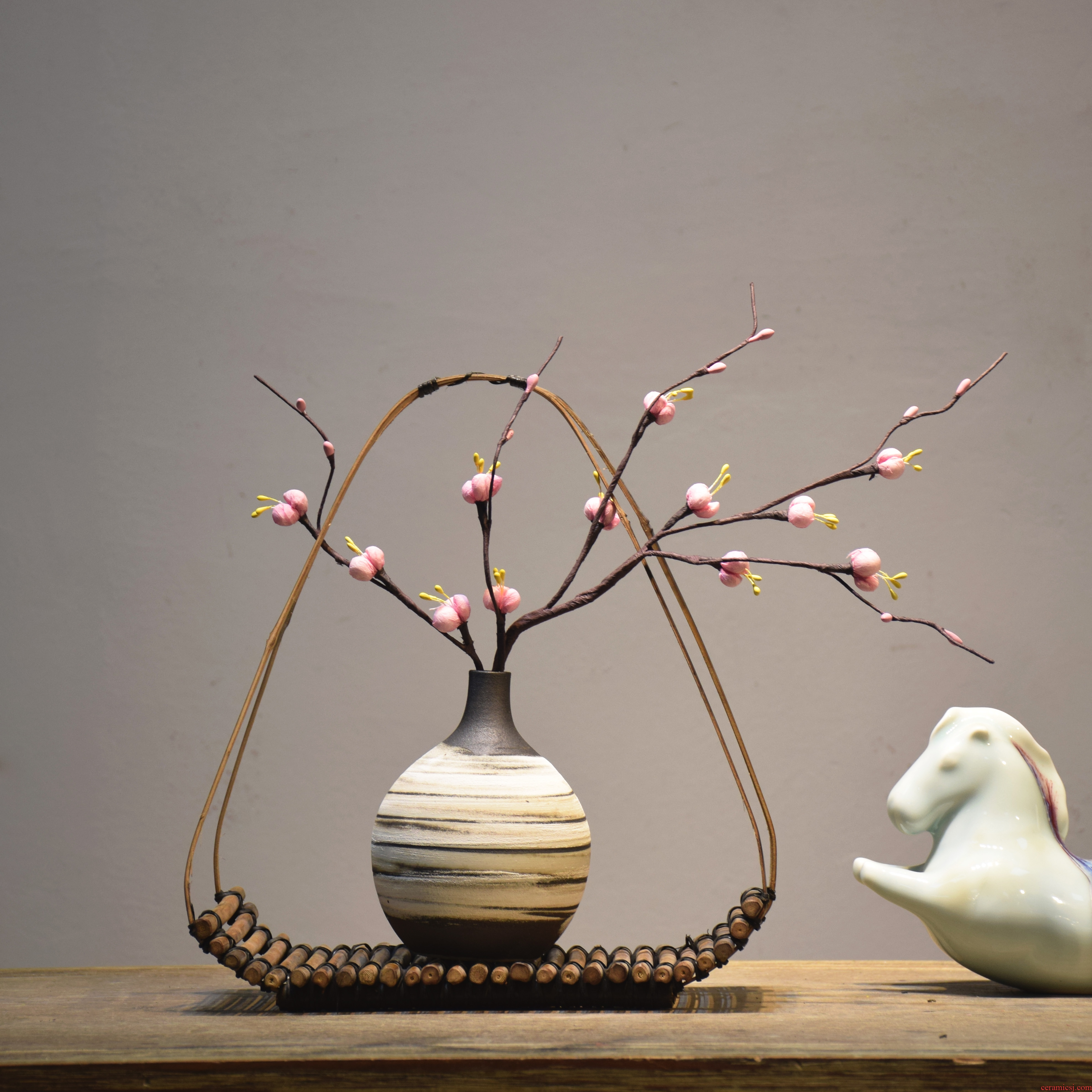 New Chinese style creative ceramic vases, bamboo has contracted hotels flower arranging the sitting room porch household decorations zen furnishing articles