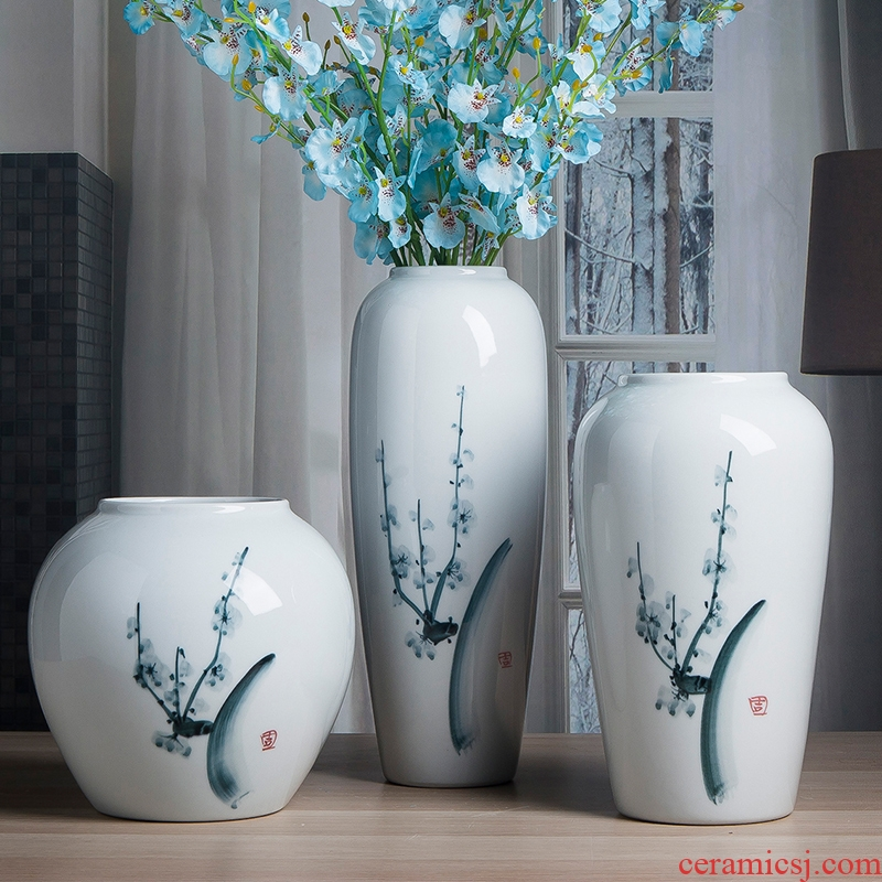 Ceramic vase furnishing articles sitting room bedroom desk office office decoration white porcelain vase flower bottles of tea table