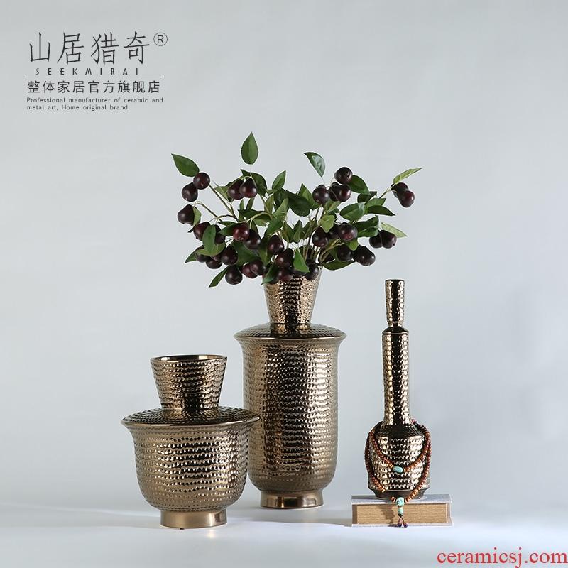 Ceramic vase furnishing articles three - piece creative fashion vase sitting room adornment flower arranging flower implement pits coarse bottle