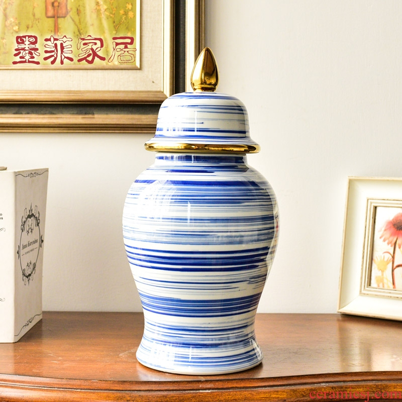 Light of jingdezhen blue and white porcelain vases, new Chinese style key-2 luxury sitting room porch general tank decorative flower arranging furnishing articles household act the role ofing is tasted