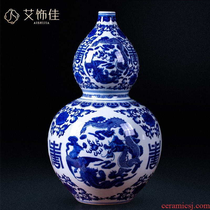 Jingdezhen blue and white in extremely good fortune archaize ceramic vases, Chinese style household living room TV cabinet porch is decorated furnishing articles