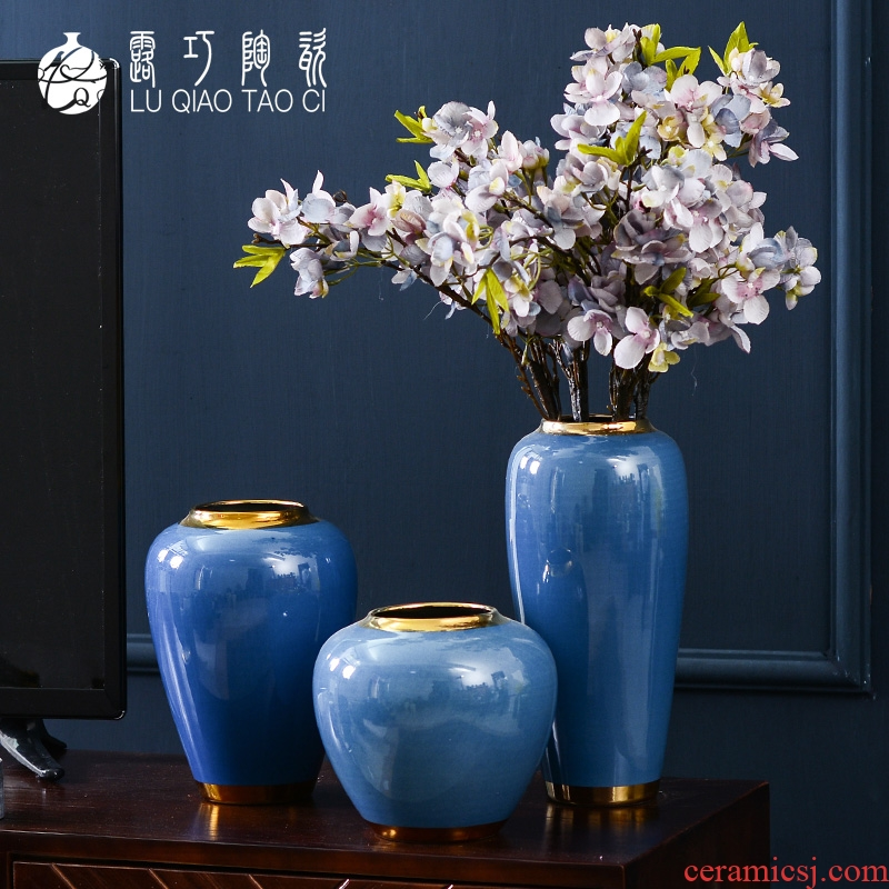 New Chinese style ceramic plug-in simulation flower art vase furnishing articles creative modern American household adornment flowers sitting room