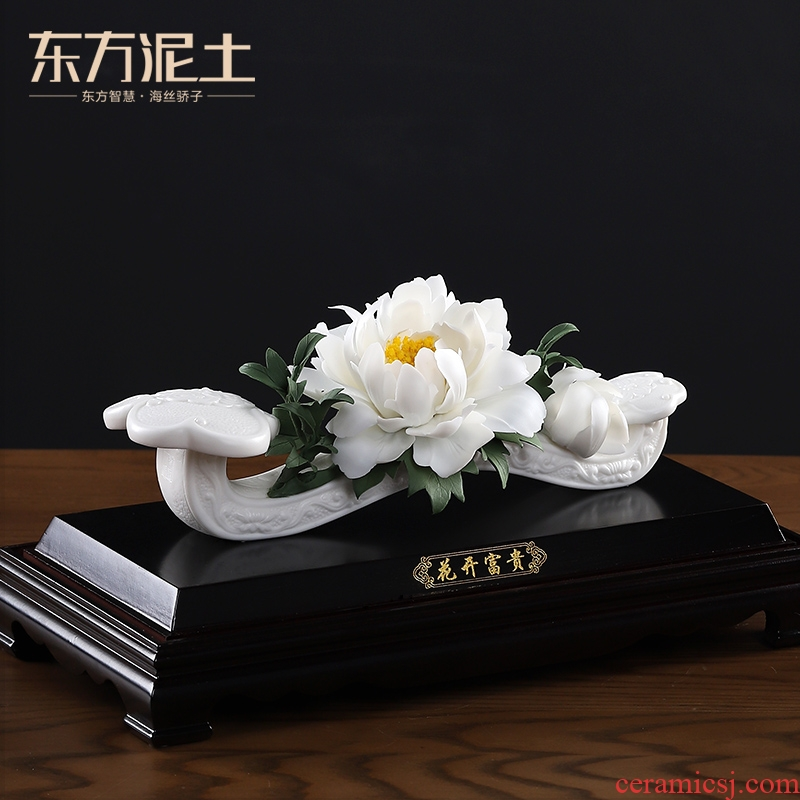 Oriental clay ceramic peony ruyi furnishing articles housewarming gifts gifts home decoration process/blooming flowers