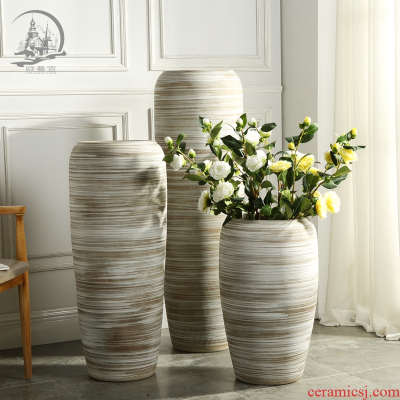 Jingdezhen ceramic large vase furnishing articles Europe type restoring ancient ways is the sitting room TV ark, ground flower adornment ornament
