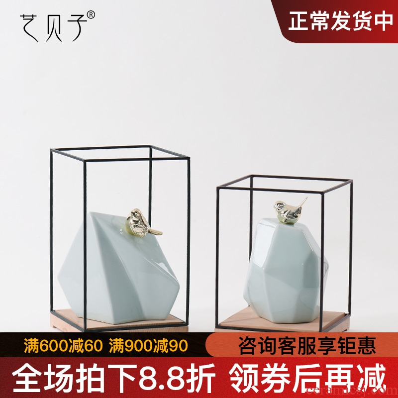 New Chinese style geometric ceramic zen home decoration decoration bird study example room office soft furnishing articles