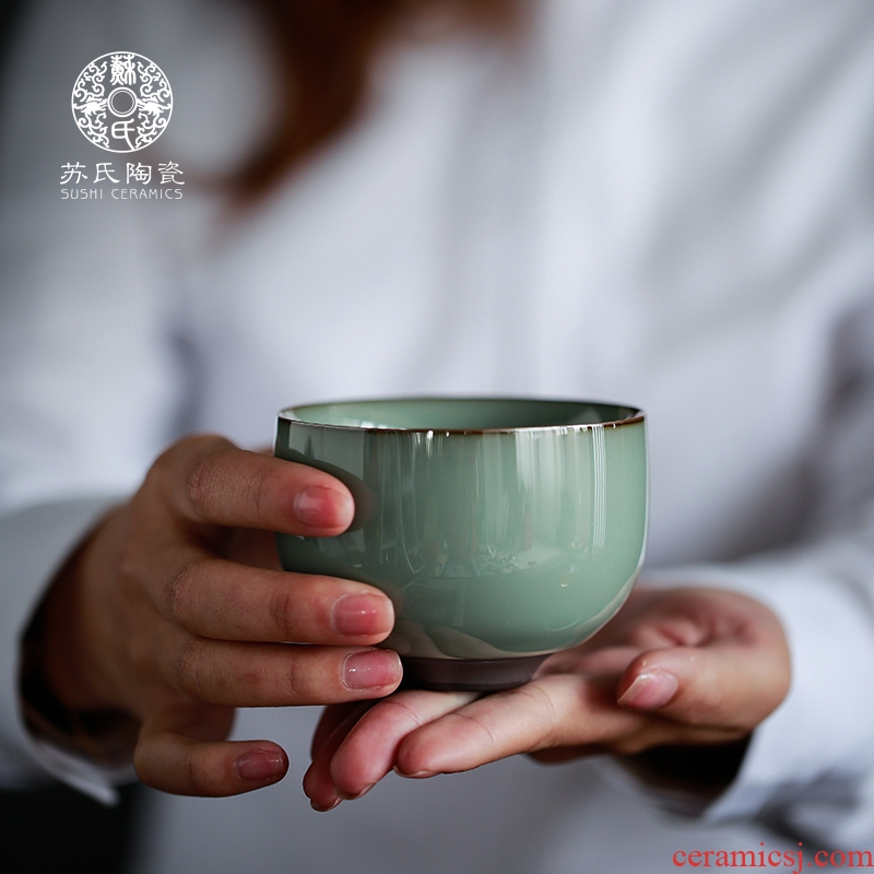 Su ceramic kilns were large household ceramic cups master cup personal cup kunfu tea sample tea cup gift boxes
