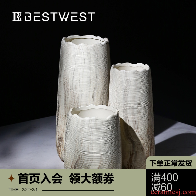 New Chinese style light key-2 luxury furnishing articles sitting room dry ceramic vase model room soft adornment creative decoration flowers in the vase