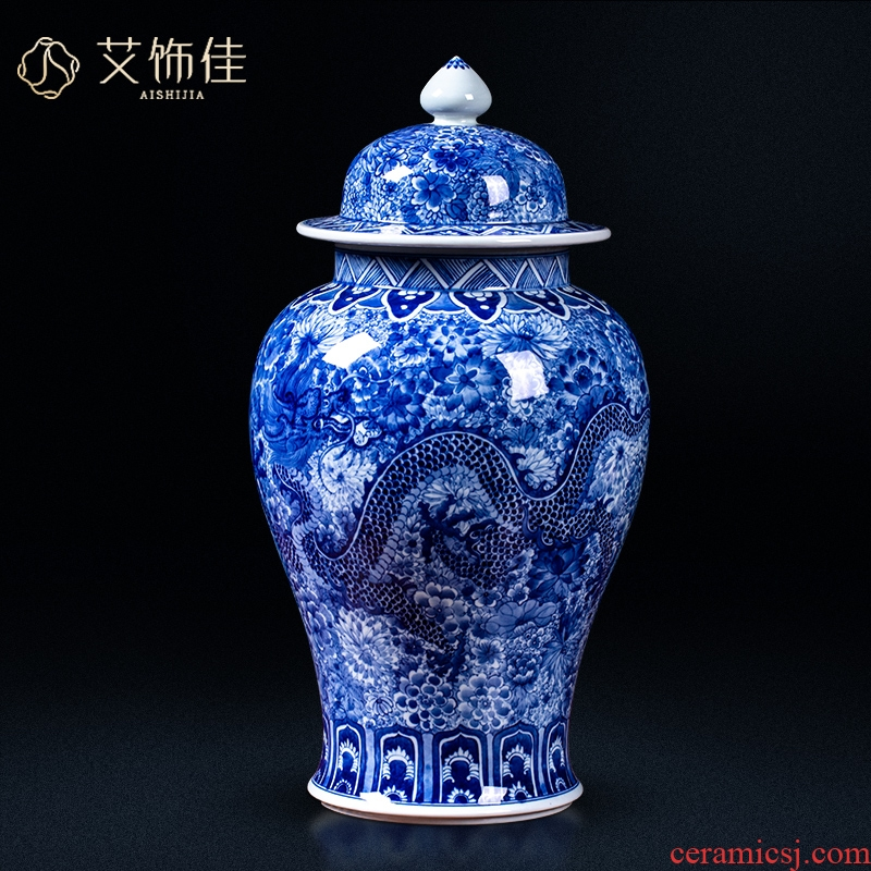 Jingdezhen ceramic antique blue and white flower dragon general jar of home sitting room porch is decorated collection handicraft furnishing articles