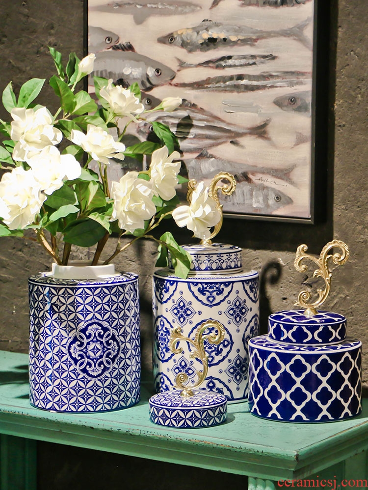 Ou shigu circle of blue and white porcelain jar of new Chinese style TV cabinet table home flower arranging soft adornment ceramics furnishing articles