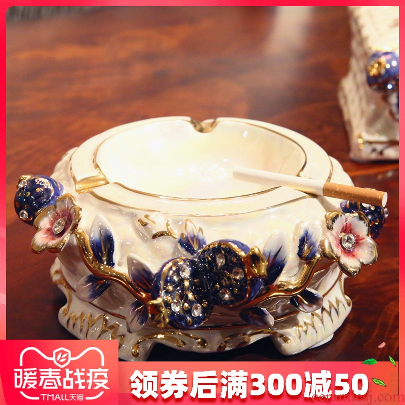 Flower fox European large ceramic ashtray ashtray creative furnishing articles of handicraft set auger sitting room tea table decoration