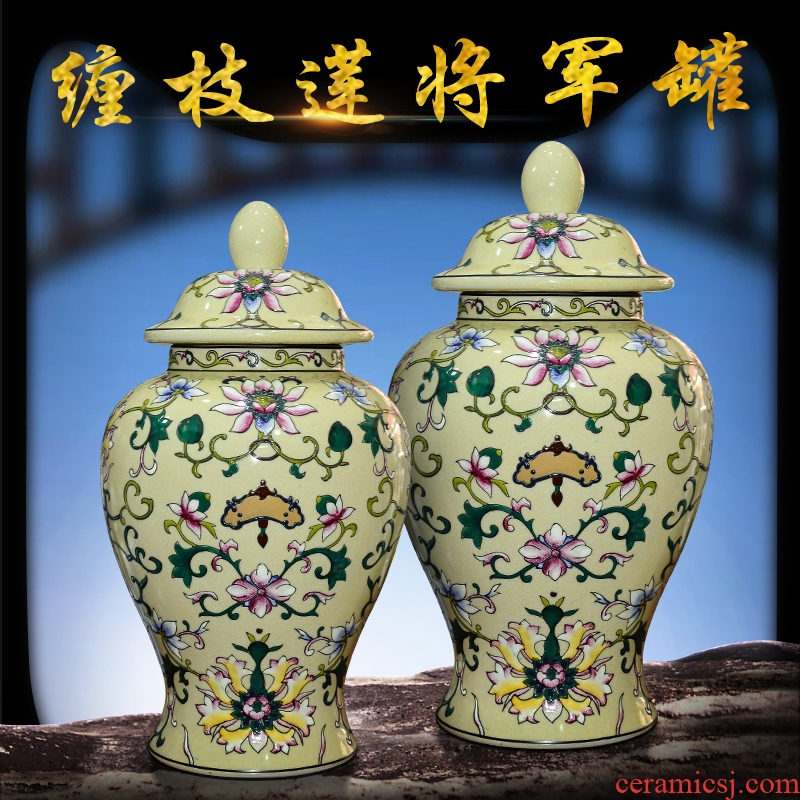 Jingdezhen ceramics general European tie up lotus flower pot with cover storage tank sitting room porch decoration handicraft furnishing articles