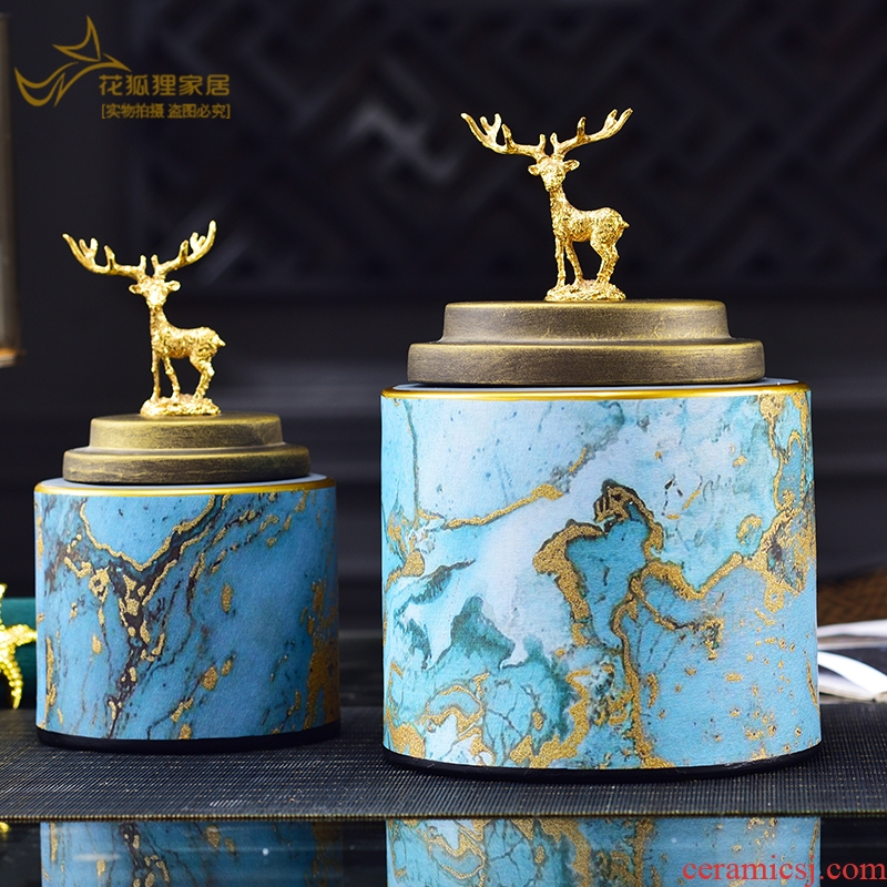 I and contracted light ceramic decoration key-2 luxury style Nordic wine porch place marble storage tank in the living room