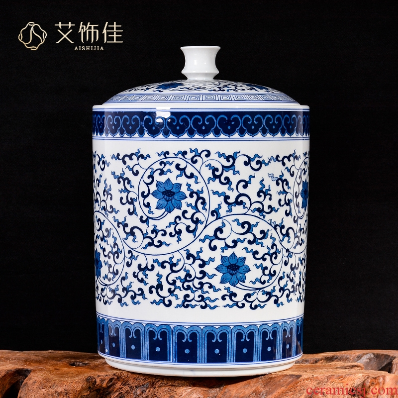 Jingdezhen ceramics large blue and white caddy fixings storage tank sealed moisture - proof puer tea pot wake POTS with cover