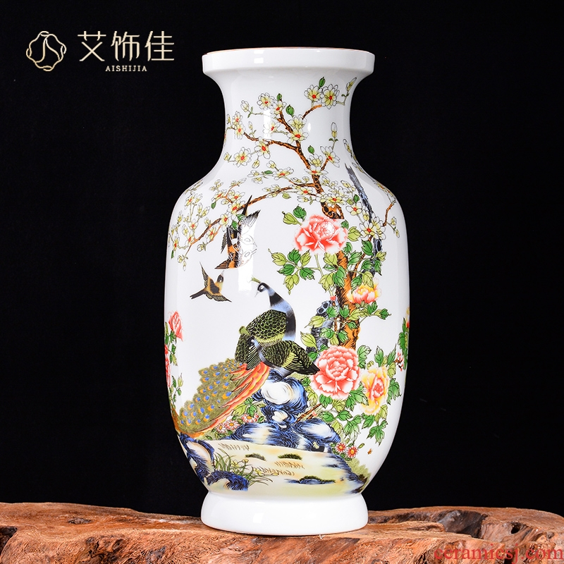 Jingdezhen ceramic vase sitting room decorates porch of new Chinese style pastel peony flower arranging TV ark place ornament