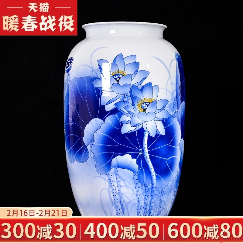 Jingdezhen ceramic furnishing articles hand - made of blue and white porcelain vases, flower arranging TV ark, Chinese style household, the sitting room porch decorations