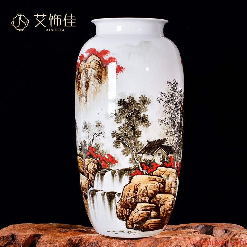The Master of jingdezhen ceramics hand - made scenery decorative vase Chinese sitting room porch ark, crafts are arranging flowers