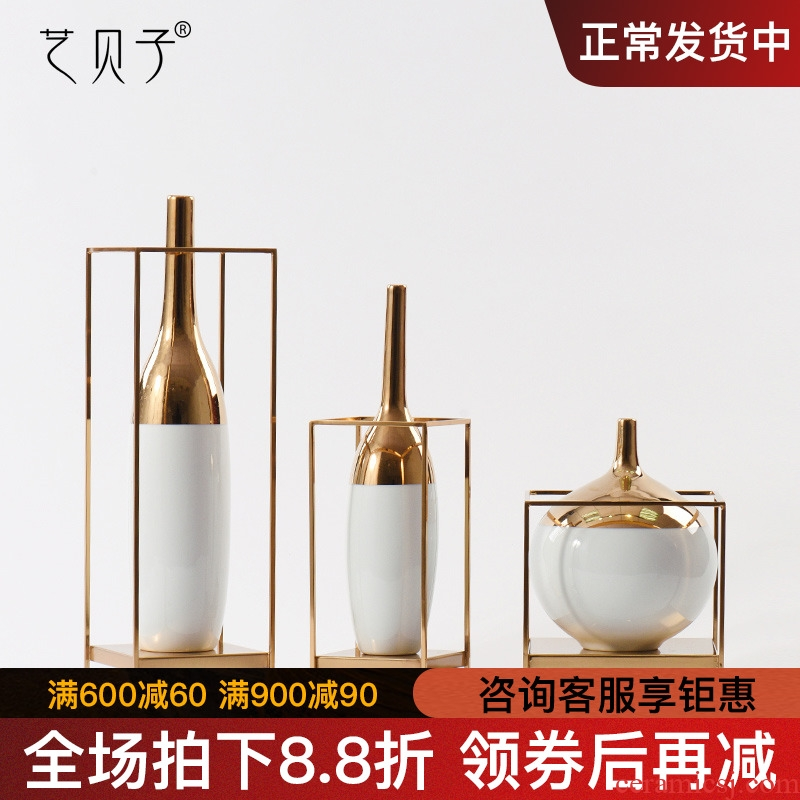 Beauty Jane home decoration ceramic golden flower vases, white contracted pottery coffee shop window decorations furnishing articles