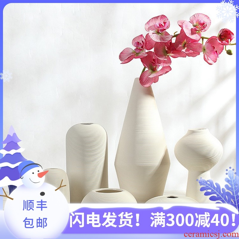 Furnishing articles cubic Nordic ins ceramic vase I and contracted household creative dry flower arranging flowers to decorate the sitting room