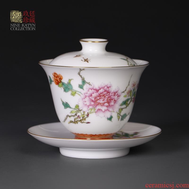 Nine at the pure manual hand - made tureen jingdezhen kung fu tea set a single white porcelain ceramic tea bowl bowl three cups