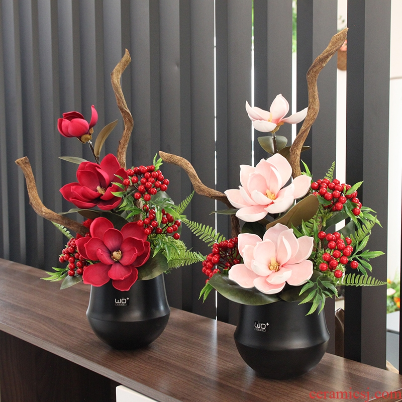 Simulation yulan crabapple auspicious fruit ceramic POTS of new Chinese style flower, the sitting room tea table table study decorate artificial flowers