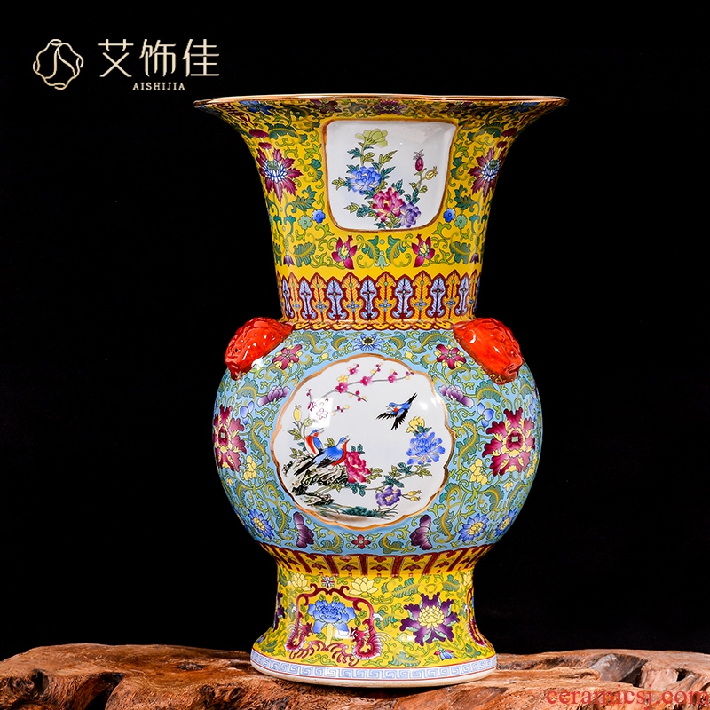 Jingdezhen ceramics big vase archaize colored enamel flower arranging furnishing articles of Chinese style living room porch rich ancient frame ornaments