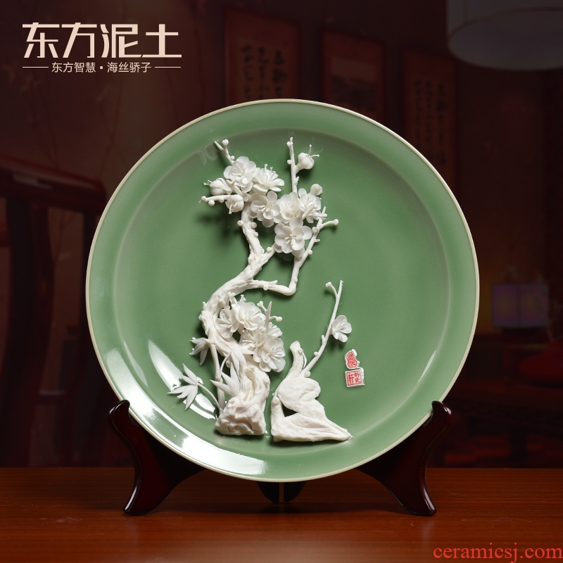 Oriental clay ceramic flowers 12 inches hang dish furnishing articles partition decoration/TV ark, impressions of fluidity H31-01 a