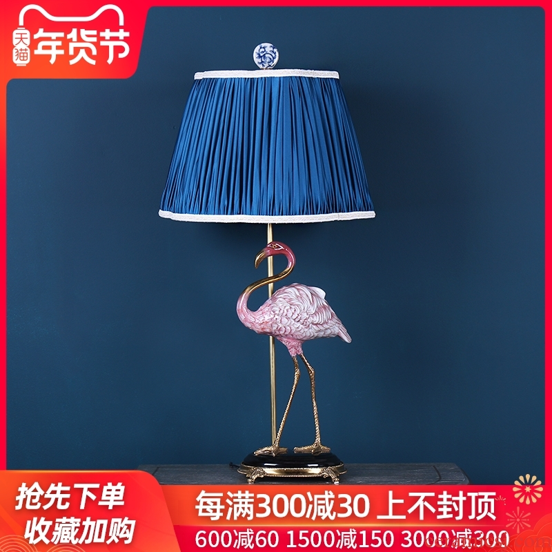 Nordic simulation ceramics flamingos sitting room lamp household act the role ofing is tasted handicraft bedroom creative bedside lamp furnishing articles