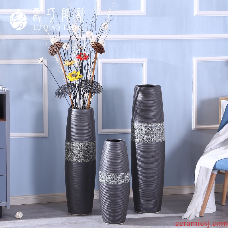 Boreal Europe style living room black vase dried flowers composite ceramic move black furnishing articles large ground bottle arranging flowers