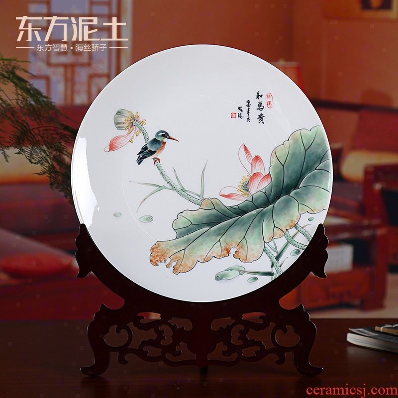Oriental clay ceramic hand - made hang dish place Chinese wine rich ancient frame sitting room adornment version into gifts