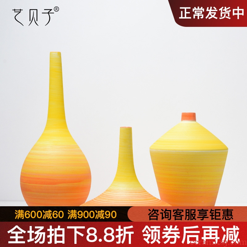 Art BeiZi I and contracted ceramic vase furnishing articles living room table flower arranging Nordic dried flowers, soft adornment ornament