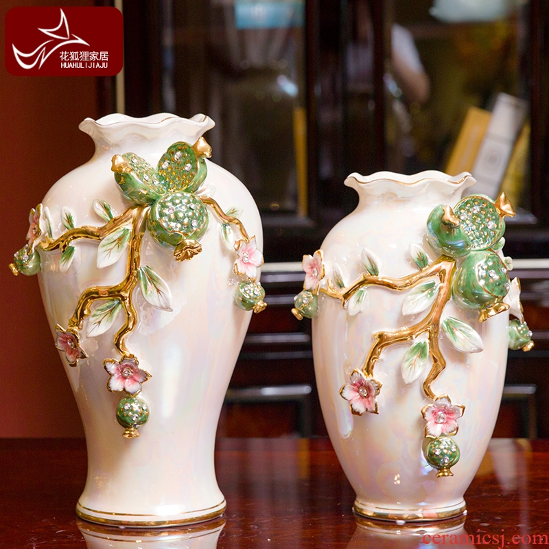 European high - end vase suit creative home furnishing articles of the sitting room TV ark, wine ceramic decoration accessories move