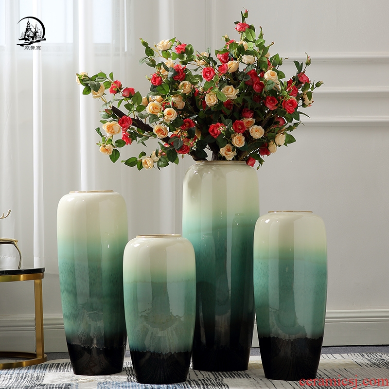 Ou jingdezhen ceramic vase landing large sitting room hotel villa contracted household adornment ornament