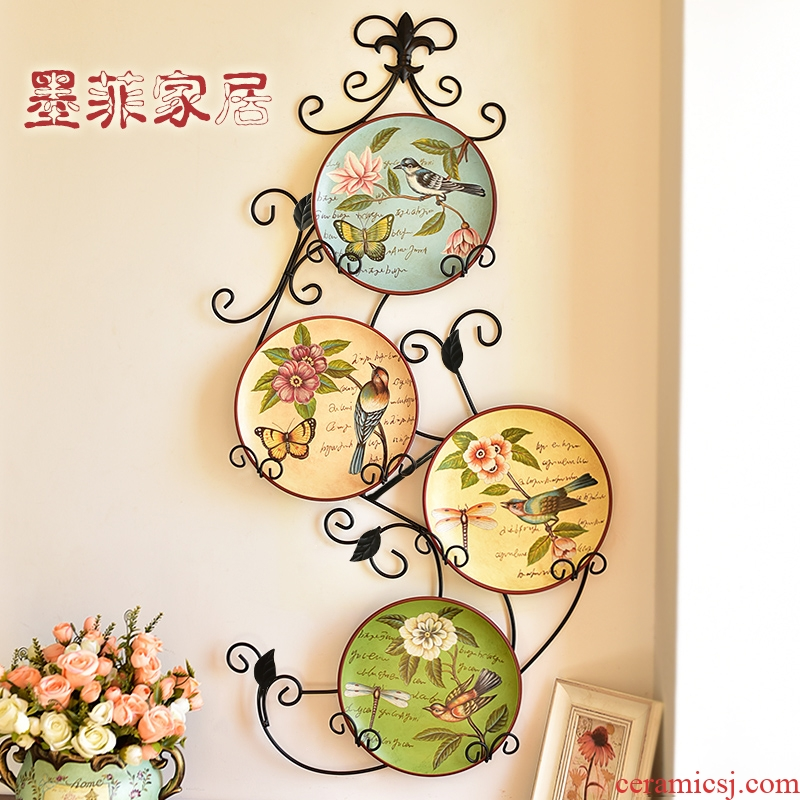 American country creative decorative wrought iron ceramic hang dish walls European sitting room porch hang wall act the role ofing background wall