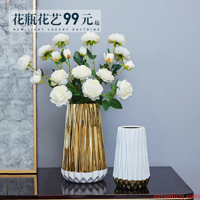 Nordic ceramic golden vase furnishing articles living room table flower arrangement geometry home flower implement household soft adornment