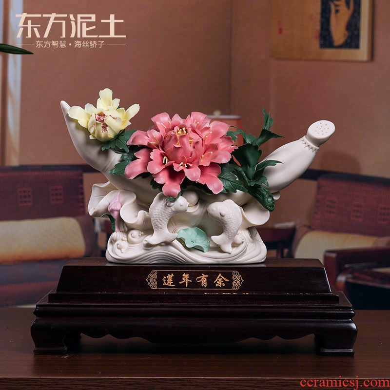 Oriental clay ceramic flower crafts its art sitting room appear more auspicious decoration in furnishing articles/lotus D19-40