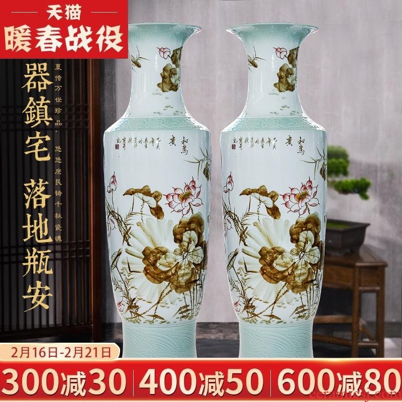 Jingdezhen ceramic hand - made landing big vase high hotel opening the sitting room TV ark, flower adornment furnishing articles furnishing articles