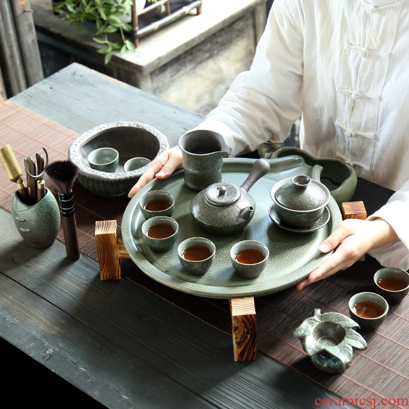 Japanese kung fu tea set to restore ancient ways of a complete set of coarse pottery teapot contracted household ceramic cups office water tea tray